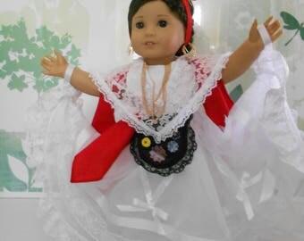 "Mexican folklorico Veracruz dress for 18"" dolls like American Girl"