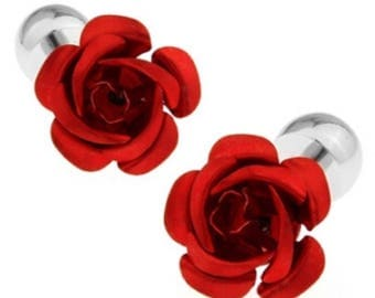 Beauty and the Beast Red Rose Cufflinks