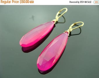 Extra Large Hot Pink Chalcedony 14 K Gold Filled Leverback Earrings