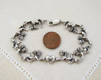 Angel Cherub Sterling Silver Bracelet, 8.375 inches