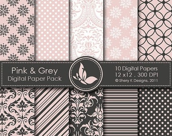 40% off Pink & Grey Paper Pack - 10 Printable Digital papers - 12 x12 - 300 DPI