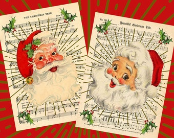 Retro Style Old Fashioned Christmas Santa Prints from Curious London