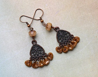 Beige Picasso Czech Glass Beads, Antique Copper Filigree, Chandelier Earrings, DaydreamJewels