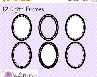 40% OFF SALE Oval Digital Frame Collection - Clip Art Frames - Instant Download - Commercial Use