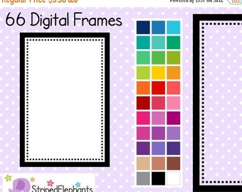 40% OFF SALE Dotty Rectangle Digital Clipart Frames - Instant Download - Commercial Use