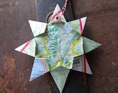 Grand Teton National Park Origami Map Ornament, Home Decor, Vacation, Christmas, Parks, Holiday, Birthday, Wedding, Graduation, Moving, Gift