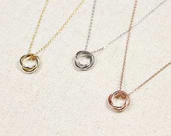 Triple Ring Necklace | Past Present Future | Eternity Necklace | Bridesmaid Necklace | Wedding Day Jewelry | Infinity | Karma |