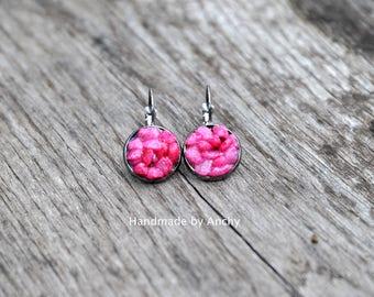 Pink stone gun metal dangle earrings*