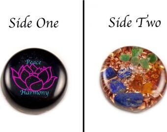 Orgonite® Orgone. Lotus Flower Symbol, Tibetan Crystal, Petalite & Phenacite, Bloodstone, Lapis, Elite Shungite,  Selenite, Tourmaline (g3)