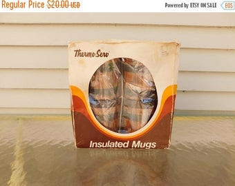 Birthday Sale Vintage Thermo-Serv Insulated Mugs,  Faux Wood Grain Coffee Cups In Original Box