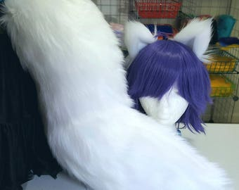 Snow White Wolf Tail with Matching Ears Set
