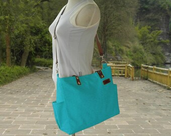 Turquoise canvas travel messenger bag, tote bag with name tag, messenger bags for women, leather strap shoulder bag, school bag for students