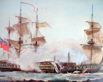 Vintage French repro print lithograh Capture of La Vestale frigates galleons sailing ships