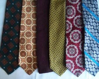 Six Vintage Ties Wool Silk Rooster Lot