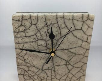 Handbuilt Ceramic Clock with Raku Fired Glaze (Square)