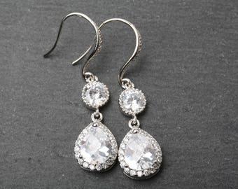 Crystal Bridal Earrings, Crystal Jewelry for Bride, Wedding Earrings, Bridal Zirconia Earrings, Statement earrings , Bride earrings, gift