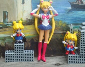 Lot of 3 Sailor Moon  Plastic Collectible Figures.  Two Made by Irwin and One Unmarked.