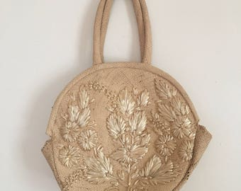 1960's straw purse floral design summer handbag