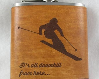 ON SALE Valentine's Day Gift for Men and Women Ski & Snowboard Flasks with Hand Dyed Engraved Leather Wrap - FREE Monogramming