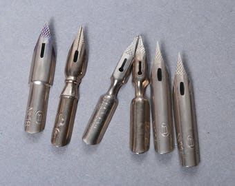 Set of 6 Vintage miniature Pen Nibs.