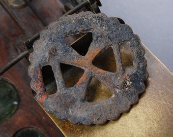 Antique huge brass plate, Button, connector. Dark patina