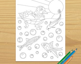 Duckling Coloring Page, Duck Coloring Page, Fish Coloring Page, Goldfish Coloring Page, Water Coloring Page, Digital Download