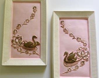 Vintage PINK chalkware swans, Vintage chalkware art, Chalkware, Vintage wall art, chalkware wall decor, Vintage swans,Vintage pink And gold