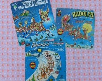 Vintage, Instant Collection of Christmas Records, Rudolph, 3 records