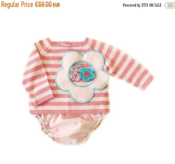 ON SALE A knitted striped sweater with diaper cover in pink . 100% cotton. 1-3 months.