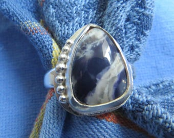 Dramatic Blue and White Sodalite in Granulated Sterling Ring Size 8 & a Half