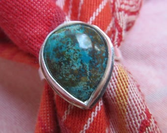 Chrysocolla Teardrop in Sterling Ring Size 7 & 3 Quarters
