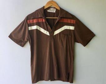 Mens Vintage Brown Striped Cotton Shirt // Size Sm