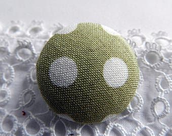 Green fabric with polka dots, 24 mm in diameter