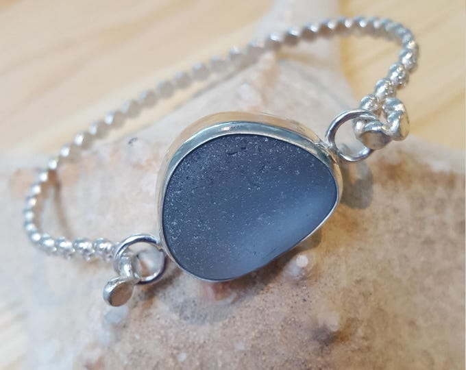 Sterling silver with Seaham beach grey seaglass bracelet.