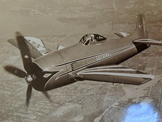 "Vintage 8"" x 10"" Real Photo Print.. Famous Pilot Al Williams & Gulfhawk Airplane Autographed"