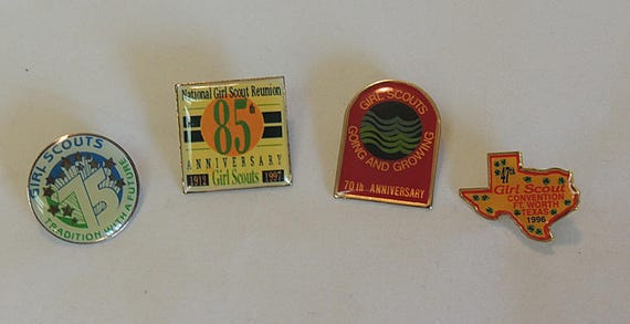 4 Vintage Girl Scouts Anniversary Pins 70,75, 85 & 1996 Convention Pin (Lot #6)