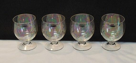 4 Vintage 1950s  Iridescent 4 Ounce Brandy Snifter Glass Goblets / Glasses