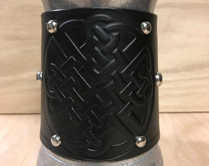 Embossed leather Celtic Large knotwork 36 oz tankard for beer/ale/cider/mead/drinks