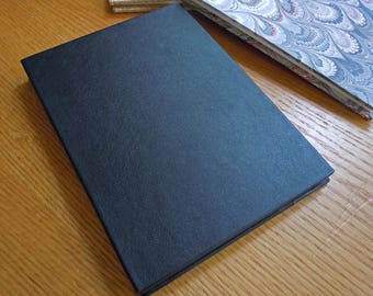 Black Leather & BFK 6x8 Accordion Fold Alternative Guest Book Photo Album Sketchbook with Deckle Edge