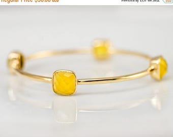 40 OFF - Bangle - Yellow Chalcedony Bracelet - Gemstone Bangles - Bezel Set Bangles - Gold Bracelets