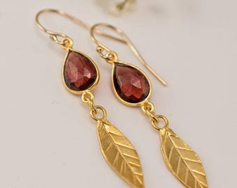 40 OFF - Garnet earrings - Gold Leaf Earrings - Birthstone Earrings - Gemstone earrings - Gold drop earrings - Dangle Earrings