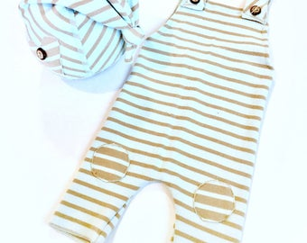 Beige and aqua striped overalls and hat, newborn photography, photography props