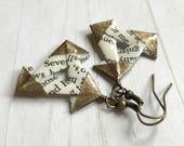 Literary Triangles // Bronze Origami Earrings
