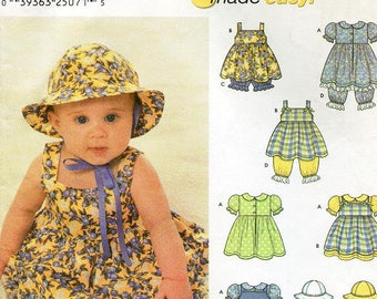 Sz XS, S, M, L - L  Simplicity 9784 - Babies' Dress, Pinafore, Pantaloons,And Hat in Three Sizes - Design By Karen Z