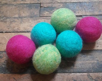 Set of 6 wool dryer balls, Brightside- bright pinks greens blues , Free Shipping in USA
