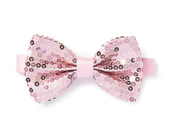 Men's Sequin Bow Tie - Light Pink