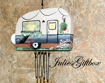 Hand Crafted Wood Travel Trailer Camper Wind Chime Hand Painted-Goldtone Chimes