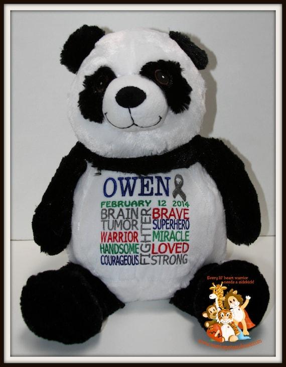 Brain tumor, Panda Warrior Pet Stuffed Animal - customized with name and date of birth