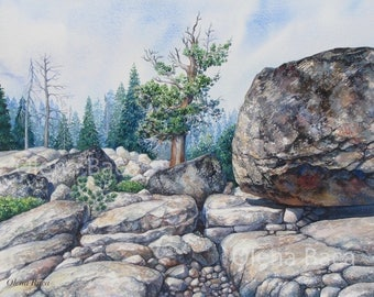 ORIGINAL Watercolor Landscape Painting by Olena Baca, Kirkwood CA
