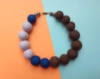 SALE, Felt choker, felt ball necklace, brown felt necklace, blue felt necklace, felt jewellery, blue choker, statement necklace